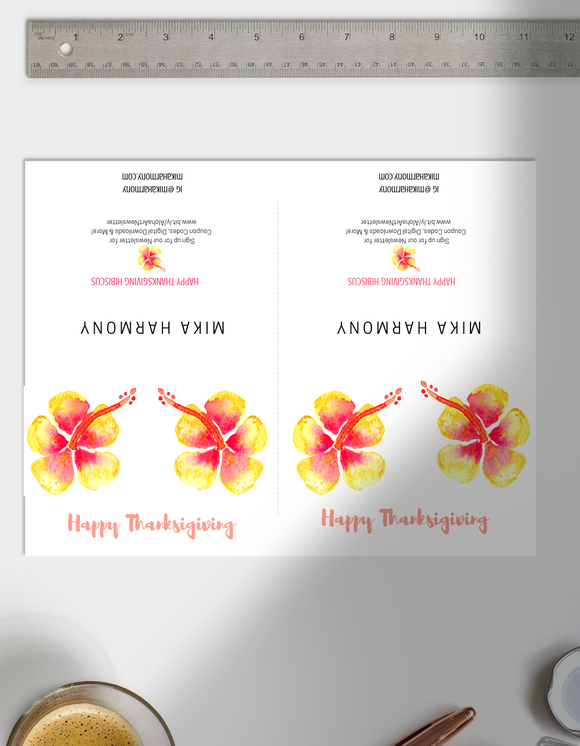 Instant Printable Peach Hibiscus Thanksgiving Cards