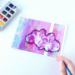 """Allure"" Hawaiian Orchids Mixed Media Painting, 5x7 ART PRINT"