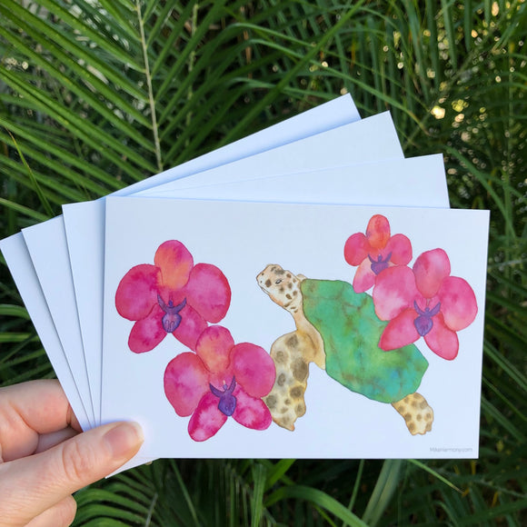 Postcard Set! Hawaiian green sea turtle and luscious orchid flowers watercolor design. Set of 4 postcards. - Mika Harmony