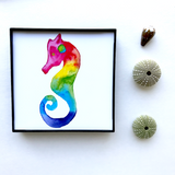 Beachy Coastal Artwork for seaglass lovers! Rainbow Seaglass Love Seahorse. Framed 4x4 Glossy Print. Ready to Ship Now! Perfect gift for Valentine's Day