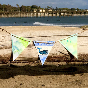 "Beachy theme Handpainted Watercolor Bunting: ""Seas The Day"" Or Whale theme. Great to brighten up your office space or parties!"
