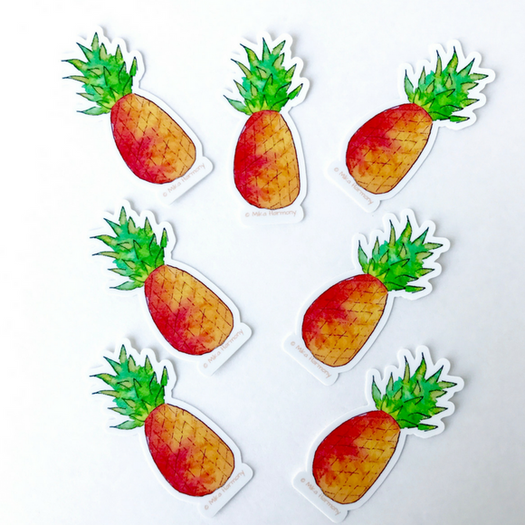 Happy Orange Pineapple Watercolor Stickers