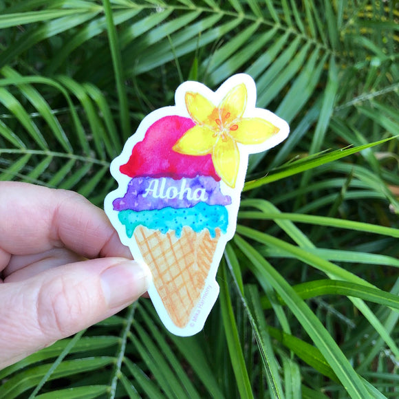 Tropical Hawaiian Shave Ice and Plumeria Ice Cream Cone Sticker - Mika Harmony
