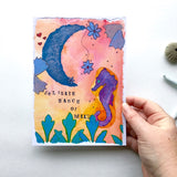 "For your most thoughtful and sensitive friend and beautiful introverts. ""Hello Blue Moon"" Seahorse watercolor art print"