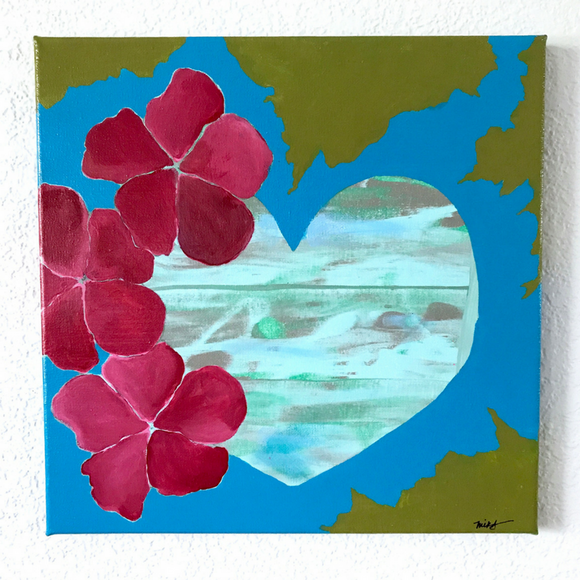 Calming blue and green heart surrounded by luscious hibiscus,