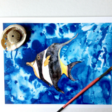 Hawaiian tropical fish vibes Moorish Idol on a swirling watercolor blue background size 5x7 or 8x10