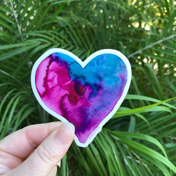 Heart Watercolor Stickers in 2 different color options: Unicorn Heart or Pink Lollipop Heart - Mika Harmony