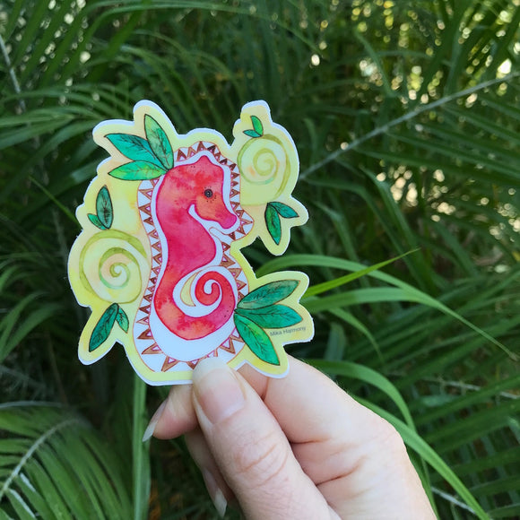 Tahitian Tribal Red Seahorse with Green vines durable waterproof sticker - Mika Harmony