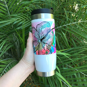 15 oz Aloha Travel Tumbler: Modern Hibiscus Watercolor. Perfect for Coffee on the go! - Mika Harmony