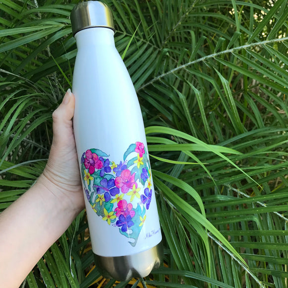 20 oz. Insulated Aloha water bottle: Botanical Heart - Mika Harmony