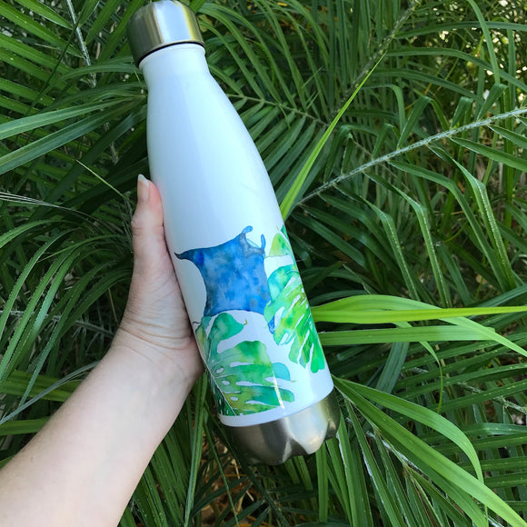 20 oz. Insulated Aloha water bottle: Manta Ray Monstera - Mika Harmony