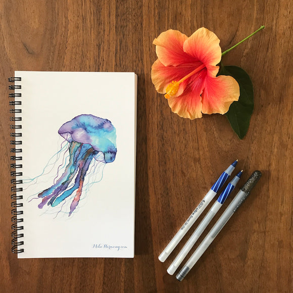 Blueberry Jellyfish Blank Notebook, perfect for Morning writing, gratitude journals or making lists! - Mika Harmony