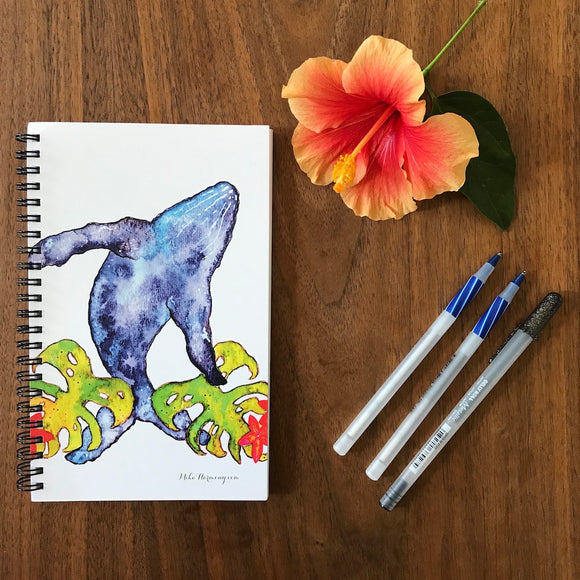 Hawaiian Humpback Whale Blank Notebook, perfect for Morning writing, gratitude journals or making lists! - Mika Harmony