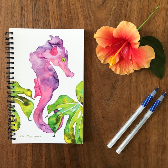 Purple Seahorse and Tropical Green Monstera Blank Notebook, perfect for Morning writing, gratitude journals or making lists! - Mika Harmony