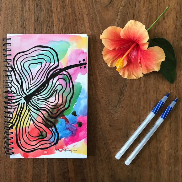 Modern Rainbow Hibiscus Blank Notebook, perfect for Morning writing, gratitude journals or making lists! - Mika Harmony