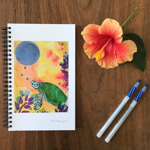 Watercolor Hawaiian Sea Turtle Monthly Planner perfect to use now, or for 2020 with blank fill-in pages - Mika Harmony