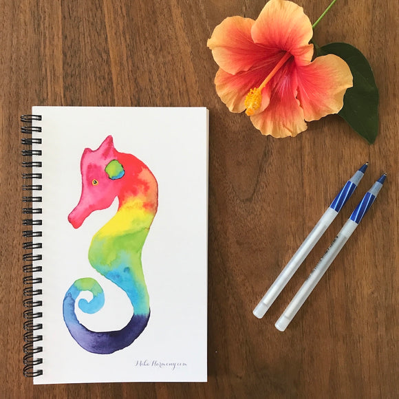 Rainbow Seaglass Seahorse Blank Notebook, perfect for Morning writing, gratitude journals or making lists! - Mika Harmony
