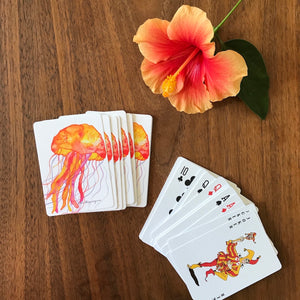 Watercolor Art Playing Cards: Orange Jellyfish design - Mika Harmony