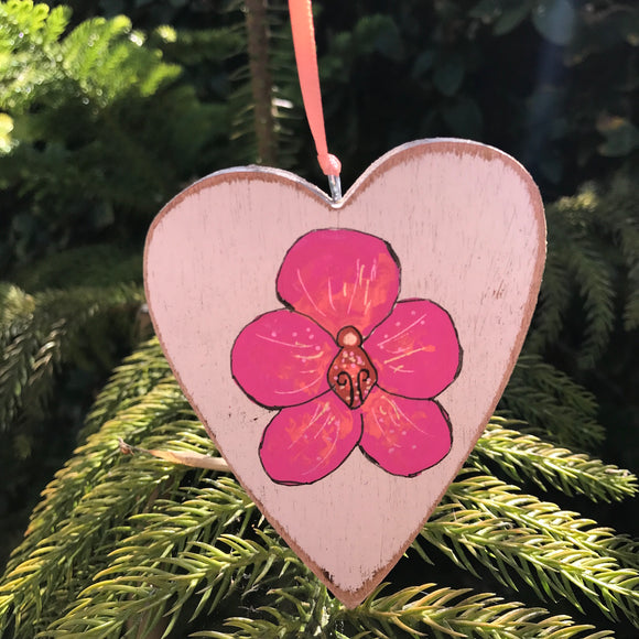 Original floral art to hang from drawer knobs or on wall: Peachy Pink Orchid on heart shaped wood. Perfect gift for Mom. - Mika Harmony