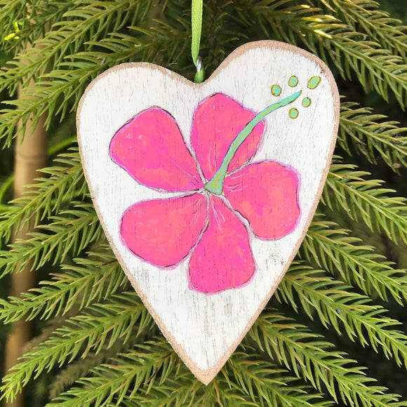 Hawaiian Holiday Ornaments. Perfect Pink Hibiscus with Kiwi green accents - Mika Harmony