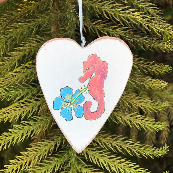 Handpainted Wooden Christmas Ornament. Heart shaped Peach Seahorse and Hibiscus - Mika Harmony