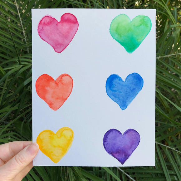 ORIGINAL WATERCOLOR:  Heart paintings in all the colors of the Rainbow!
