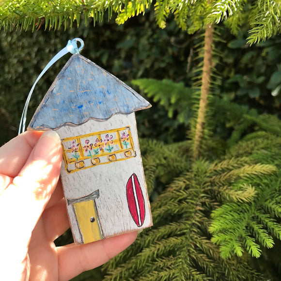Original painted Wooden Christmas Ornament. Surfer's Paradise Cottage - Mika Harmony