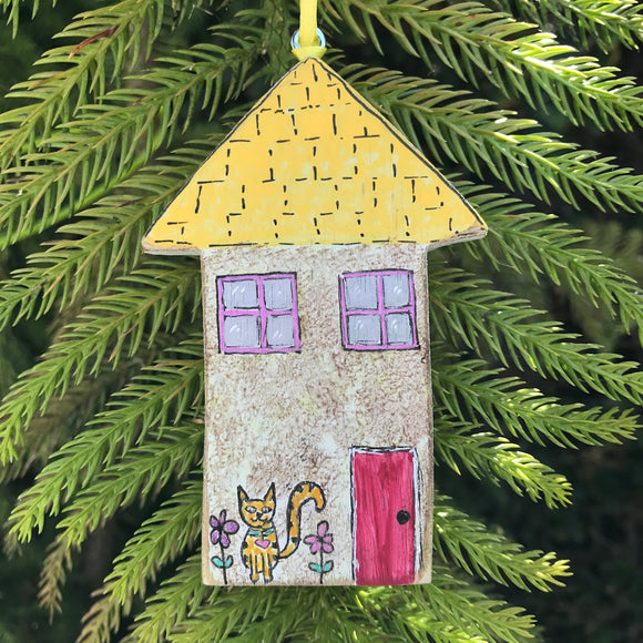 Original painted Wooden Christmas Ornament. Kitty Cat Cottage - Mika Harmony
