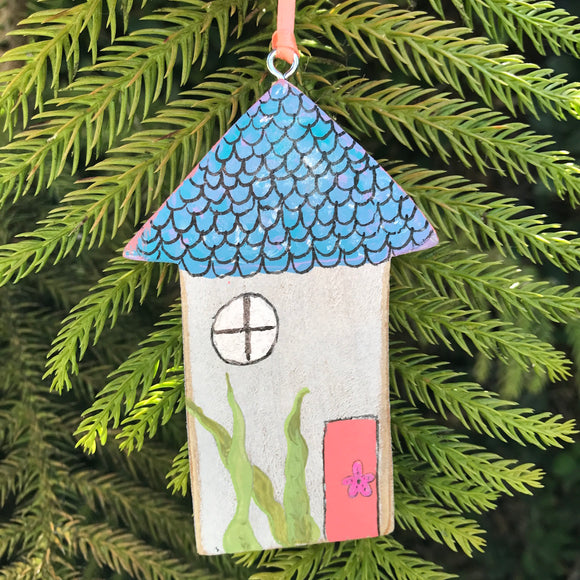 Handpainted Mermaid House. Art ready to hang! Great gift for beach lovers - Mika Harmony