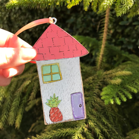 Handpainted Wooden Christmas Ornament. Aloha Houses: Pineapple Welcome - Mika Harmony