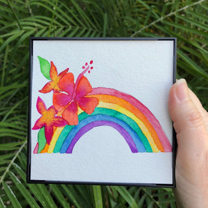 "ORIGINAL Framed Rainbow Watercolor Art ""Lahaina Rainbow"" with Orange Pink Hibiscus and Yellow Orange Plumeria - Mika Harmony"