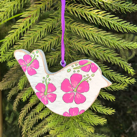 Handpainted Wooden Christmas Ornament. Bird with Pink Hibiscus - Mika Harmony