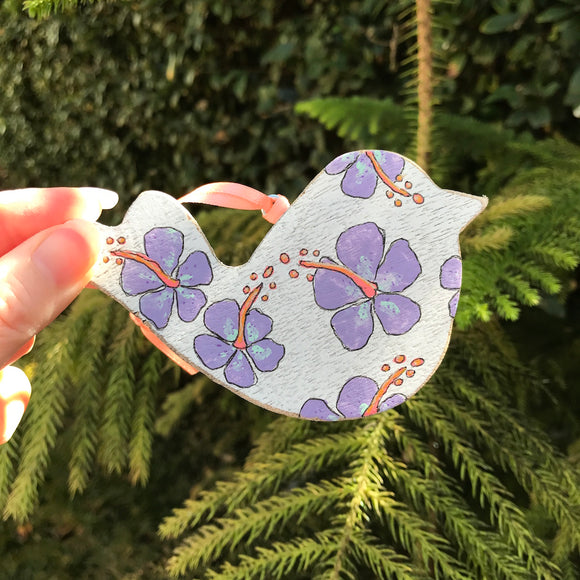 Handpainted Wooden Christmas Ornament. Bird with Purple Hibiscus - Mika Harmony