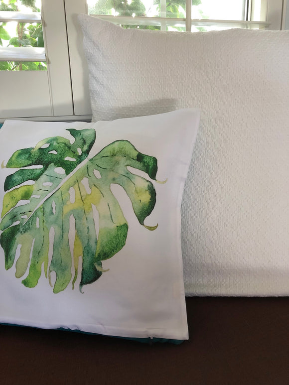 Tropical Hawaiian Green Monstera Leaf Throw Pillow Cover - Mika Harmony