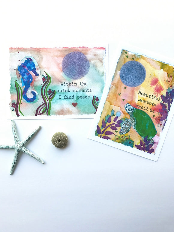 Two Watercolor Prints: Hawaiian Sea Turtle with Positive quote, and Blue Galaxy colored Seahorse Print. Ready to frame!
