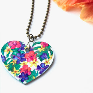 Heart of Hawai'i pendant with peach orchids, purple hibiscus and yellow plumeria - Mika Harmony