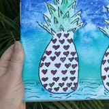 Silent Auction SALE: Cosmic Colorful Pineapple Heart  Art watercolor print on 8x8 canvas, 2 heart colored pineapples in a galaxy colored background