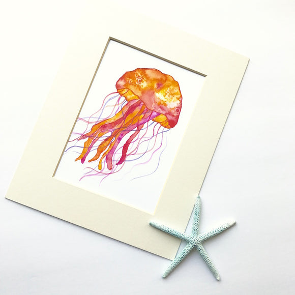 Orange Jellyfish Watercolor Print: 3 different sizes to choose from!