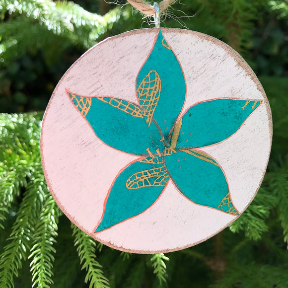 Turquoise and Gold Plumeria Handmade Wooden Christmas Ornament