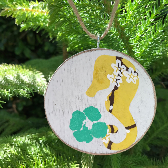 Yellow Cherry Blossom Seahorse Handmade Wooden Christmas Ornament