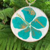 Turquoise and Gold Hibiscus Handmade Wooden Christmas Ornament