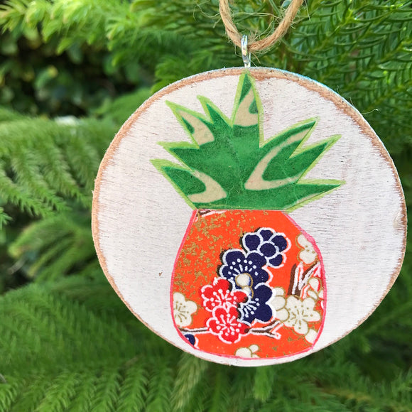 Blue and Red Cherry Blossom Pineapple Handmade Wooden Art ready to hang! - Mika Harmony