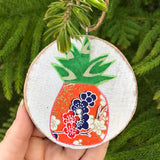 Blue and Red Cherry Blossom Pineapple Handmade Wooden Christmas Ornament
