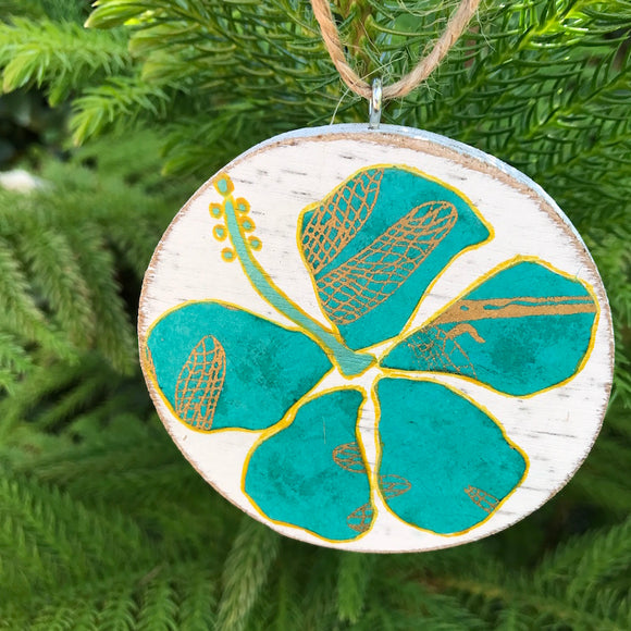 Teal and Gold Hibiscus Handmade Wooden Christmas Ornament