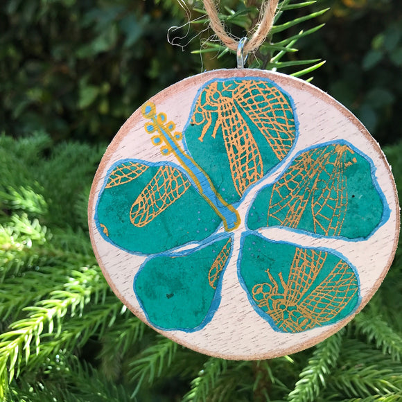 Turquoise Dragonfly Wing print Hibiscus Handmade Wooden Christmas Ornament