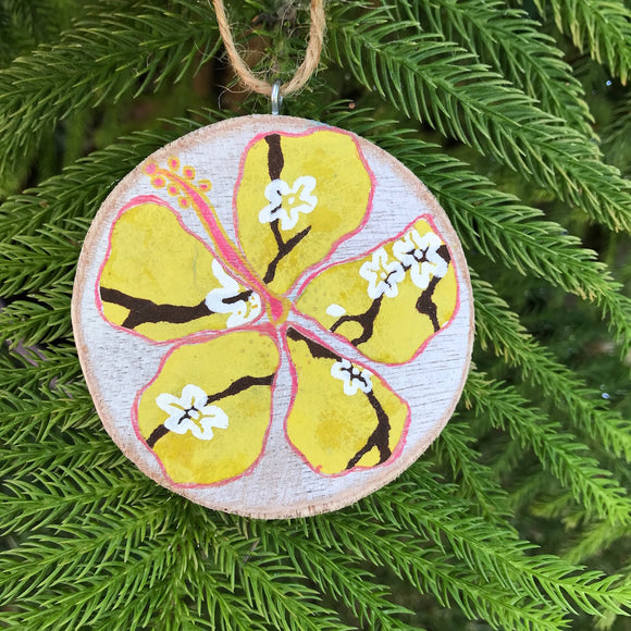 Yellow Hibiscus with White Cherry Blossom Print Handmade Wooden Christmas Ornament - Mika Harmony