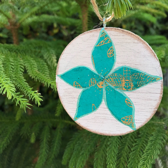 Teal and Gold Dragonfly Wing print Plumeria Handmade Wooden Christmas Ornament