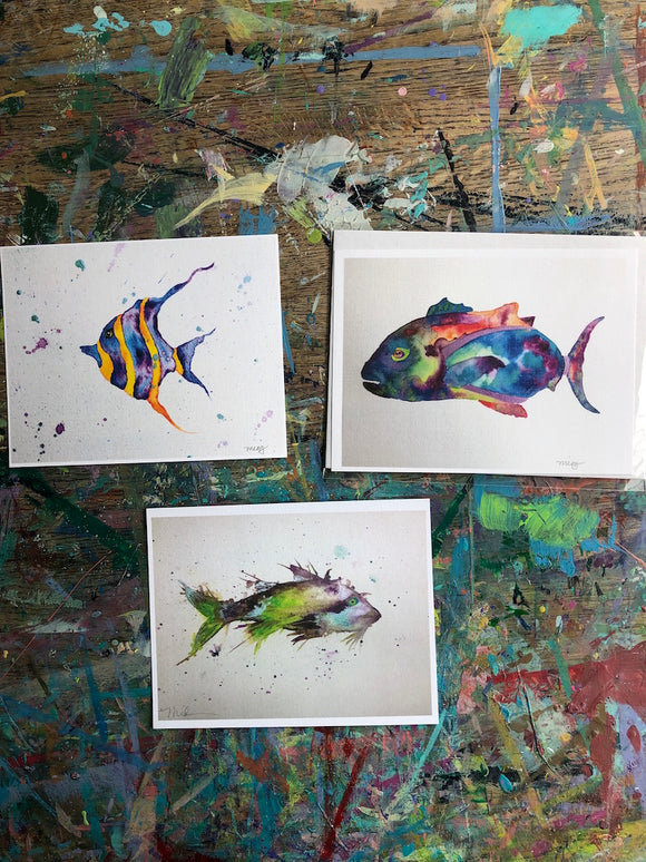 Art Print sale! 5x7 FISH prints. Birthday Brighten Your Space sale! Bring some colorful cheer to your home during our quarantine! - Mika Harmony