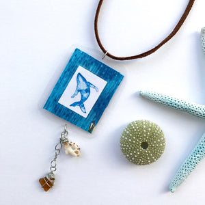 Something Special for your Mom. Maui Humpback Whale necklace with Seaglass and seashells - Mika Harmony