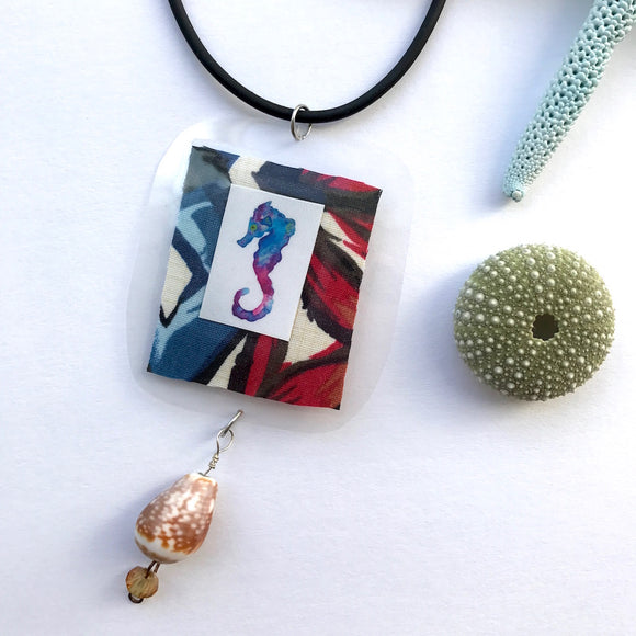 For your Best Friend who already has everything. Tribal Seahorse Necklace with Hawaiian Cone Shell - Mika Harmony